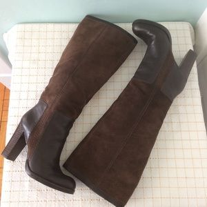 Nine West Brown Leather Chunky Heel Boots, 6 M